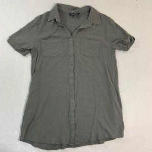 Lulus Button Front Pocket Blouse Top Shirt M